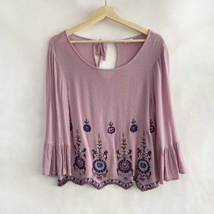 Aeropostale Lilac Floral Embroidered 3/4 Blouse